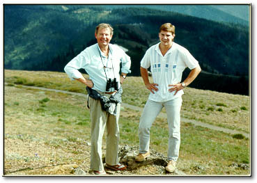 dr. peter taylor & son brian taylor in olympic mountains in 1988