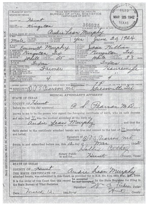 audie murphy - birth certificate
