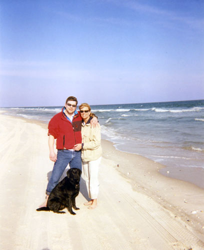 brian taylor & tracy larsen with dog jake at fire island, new york 2002